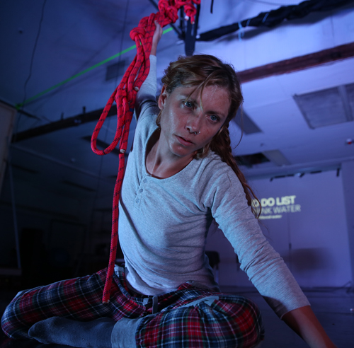 5. Carlie Angel demonstrates using aerial dance and bungie cords as a mode of finding support and rest in her work 'Phrenic'. Like the other artists attending this residency, finding ways to implement rest is a necessary focus in Carlie's work and methodology.