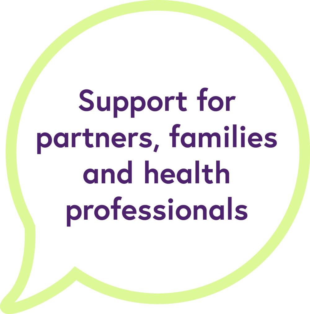 Support for partners, families and health professionals
