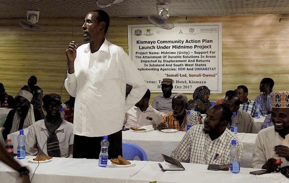Participants at the Kismayo Community Action Plan Launch. Credit: UN Photo/IOM