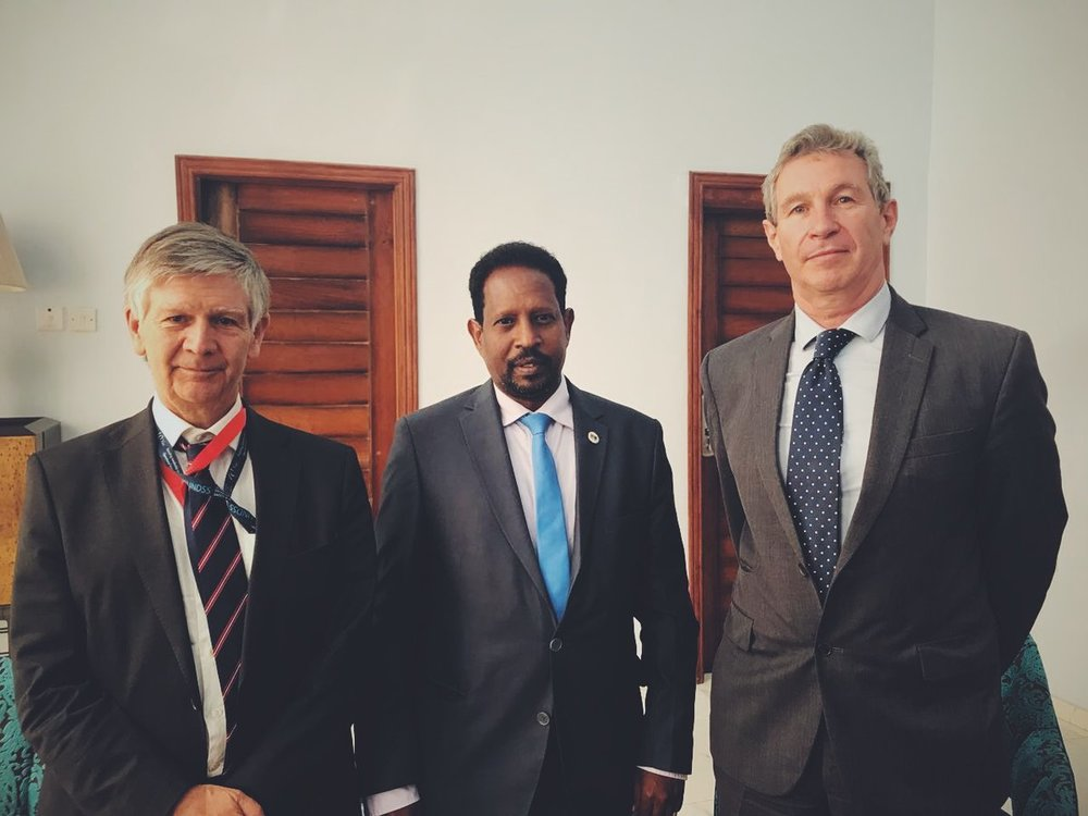 Caption: Walter Kaelin (right) together with the Mayor Of Mogadishu, Abdirahman Omar Osman and the Deputy Special Representative of the Secretary-General, Peter de Clercq. Photo Credit: UN picture