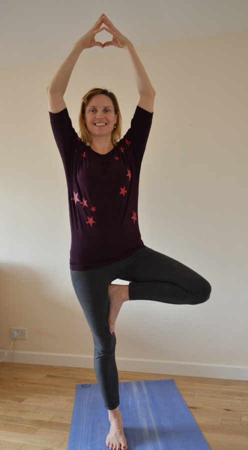 Vrksasana - Start in Tadasana, connect with sthira and sukha, then allow gravity to draw down more strongly on one side, turn the other leg diagonally away from you and bring your foot to rest against your ankle, calf or thigh. Hands can start on your hips, then move to your heart centre, then rise above your head. For a challenge try moving your body as though you are being blown by the wind.