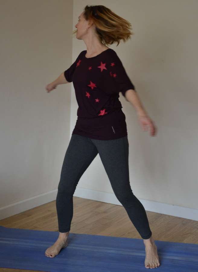 Kati Chakrasana - Swing your arms from side to side, creating a twist at your waist, build up pace and energy. Give yourself a pat on the back for doing your home practice!