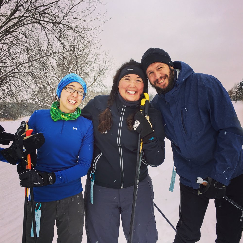 """I was an avid cross country skier and lover of snow before I got sick. It's an extremely rare occasion where I can ski now, but I had a good week in December (2016) and we lived it up!"" Steph's sister Bridget, Steph and Paul."