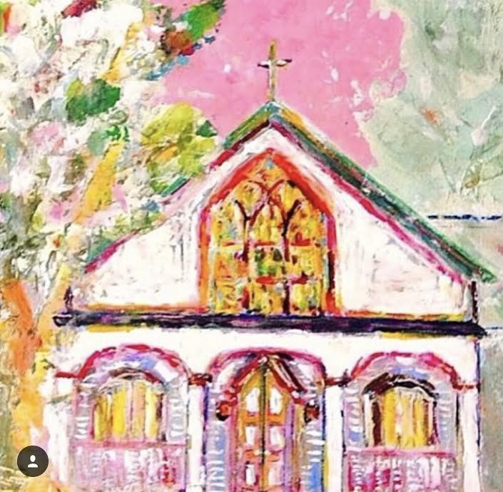 Commission painting of wedding church. These and others were given to bridesmaids