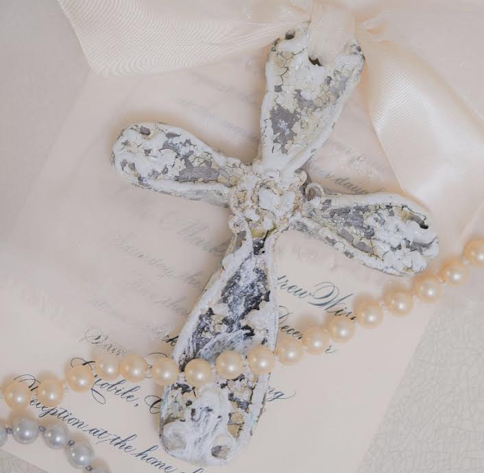 Distressed crosses were created for lovely wedding favours.