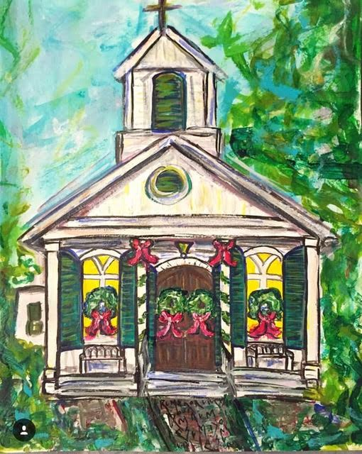 Christmas wedding Chapel. Original watercolor on paper.