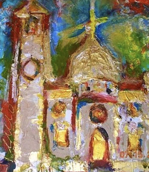 Original oil on canvas of Italian Church.