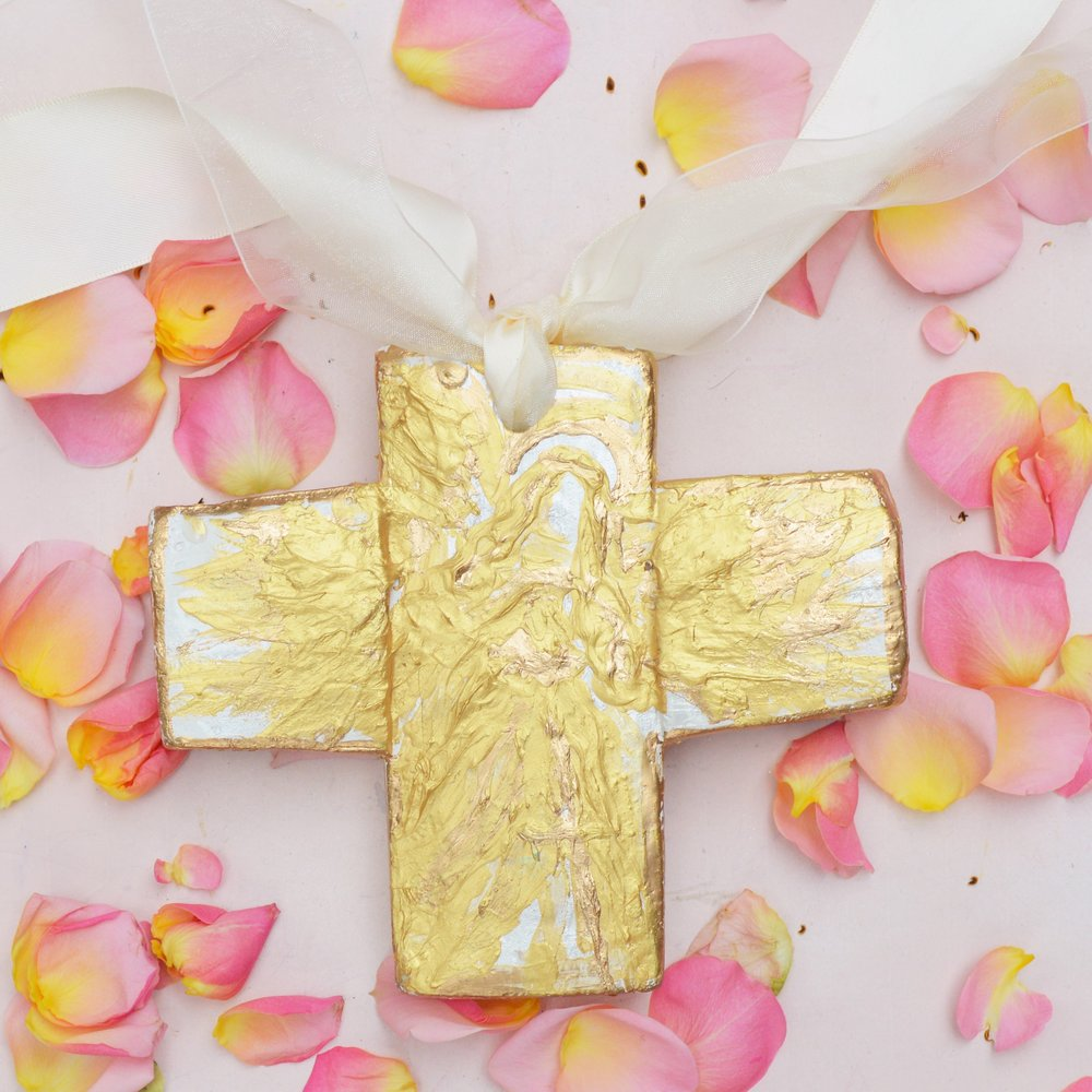 Corinthian Cross:Beautiful hand crafted crosses, with hand painted, gold leaf angels are beautiful bridesmaid gifts.