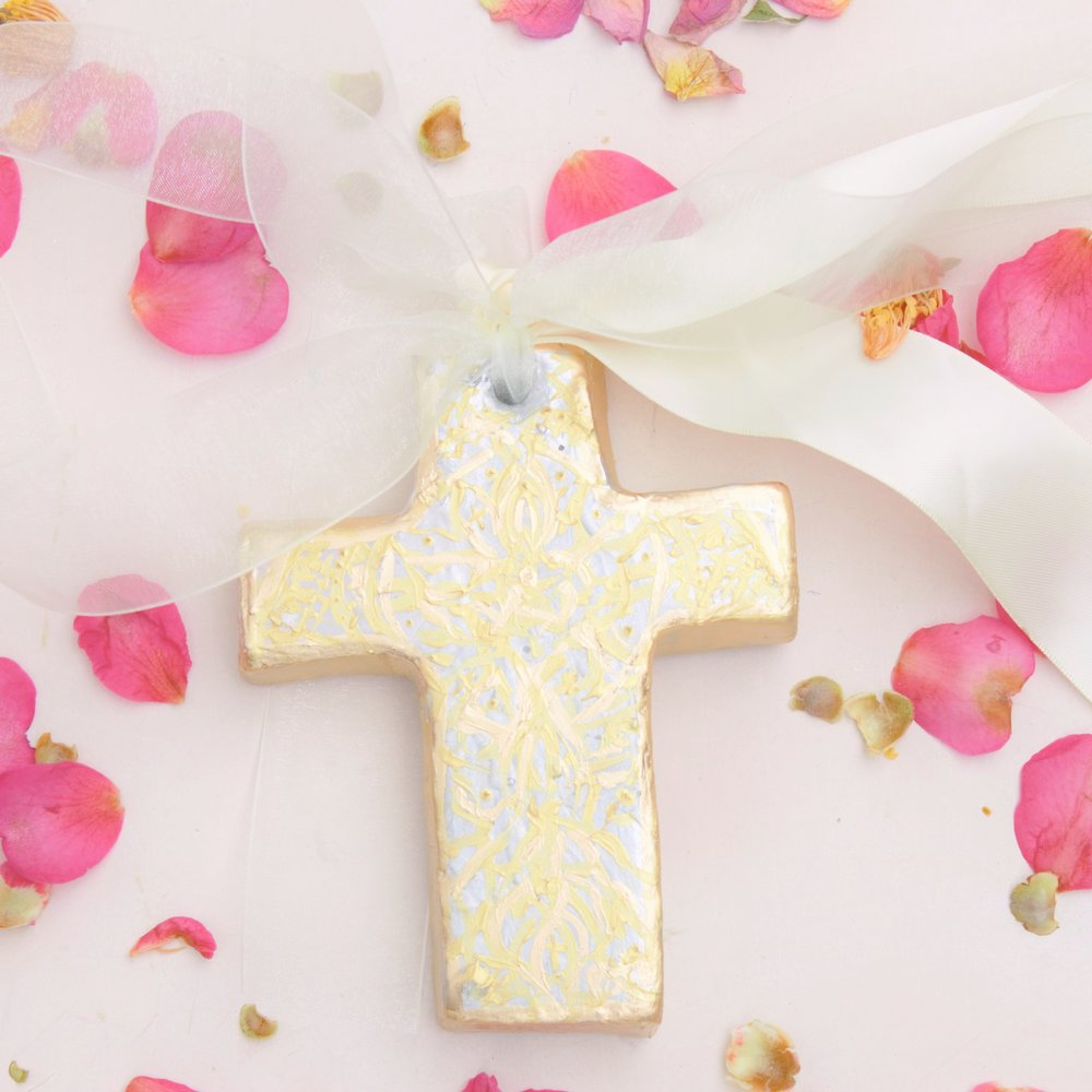 Our Cross of Cana is hand crafted and hand embellished with gold leaf design. It can be created in any color, and/ or silver leaf.