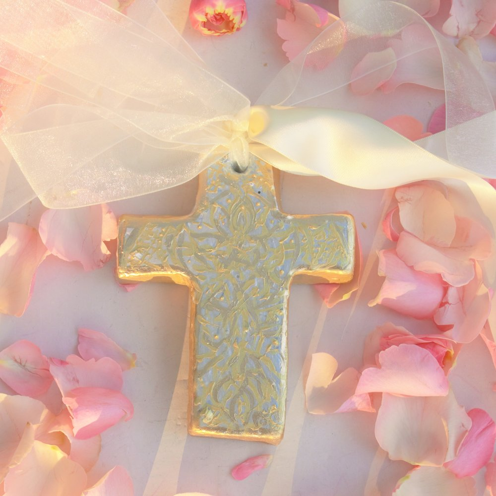 Etheral cross, with intricate, hand painted, gold leaf embellishment , beautiful satin and organza ribbon streamers