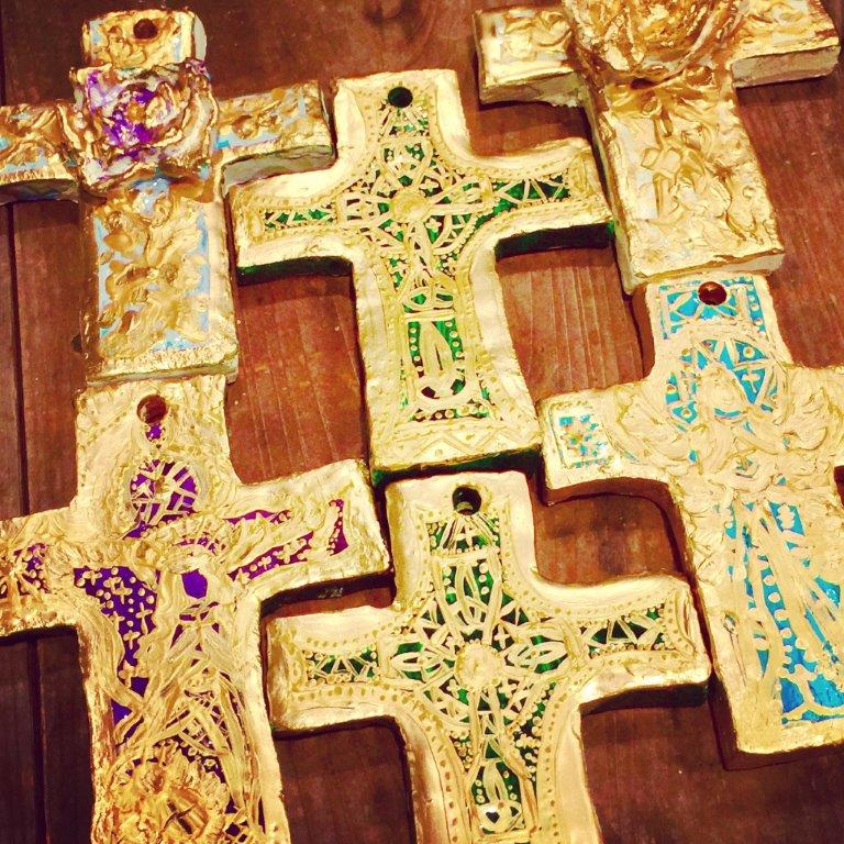 Jeweled Hand crafted and gilded Cross Favours