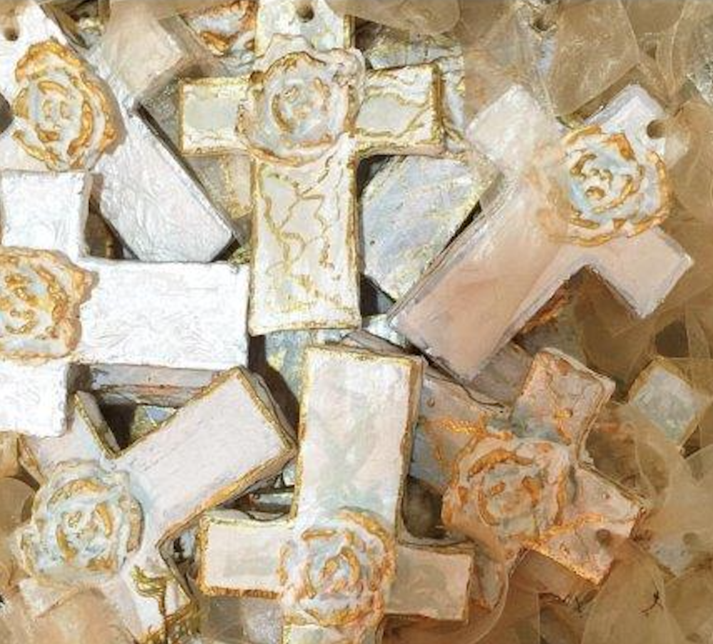 150 Hand Crafted and Painted Crosses Alabaster and Gold, for outdoor wedding.
