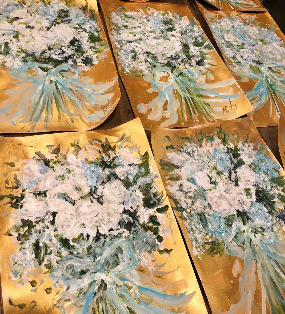 """15 custom bridesmaid favors (16""""x20'') original mixed media on fine art paper"""