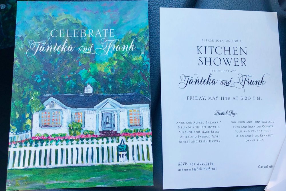 Custom bridal shower invitation. Portrait of new couple's home used as background.