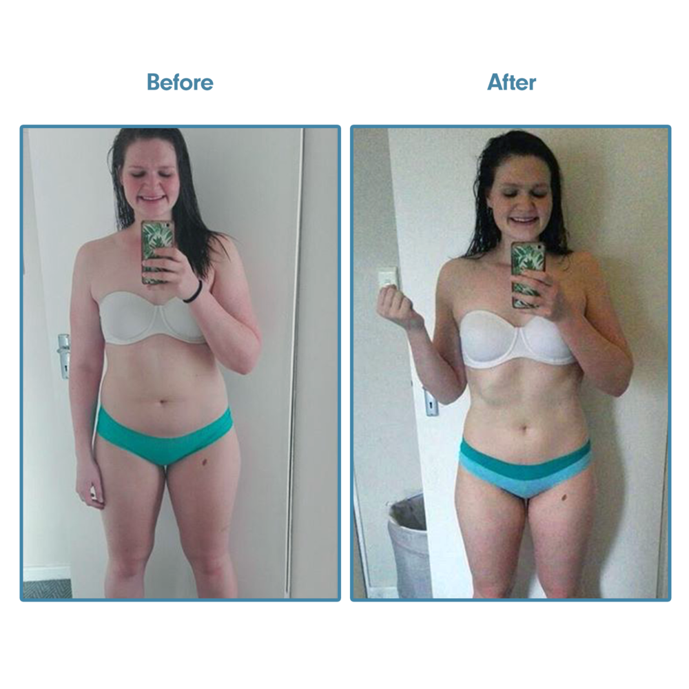 """Victoria - """"This is my progress shot after just 5 weeks! I genuinely remember how icky I felt when I took the before photo, but I knew I would benefit having these photos in the long run. I mean - I would have never noticed the shoulder progress! And look how high my belly button is now! And my butt is so full! I love it.I, for the life of me, never thought some workout plan would EVER give me so much confidence in the gym and just in general! I am SO happy that I found you!!Oh and when I flex!! I actually have ab lines. Something so silly, but it's not the most awful thing ever :).And with regards to how I'm feeling—SO RELAXED. I feel so empowered now. I feel strong. I feel healthy and WHOLE."""""""