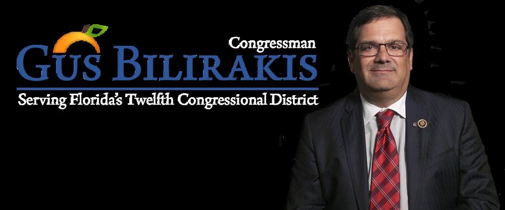 U.S. Congressman Gus Bilirakis    Address: P.O. Box 606 Tarpon Springs, FL 34688  Telephone: 727-940-5860  Website:. www.bilirakis.house.gov