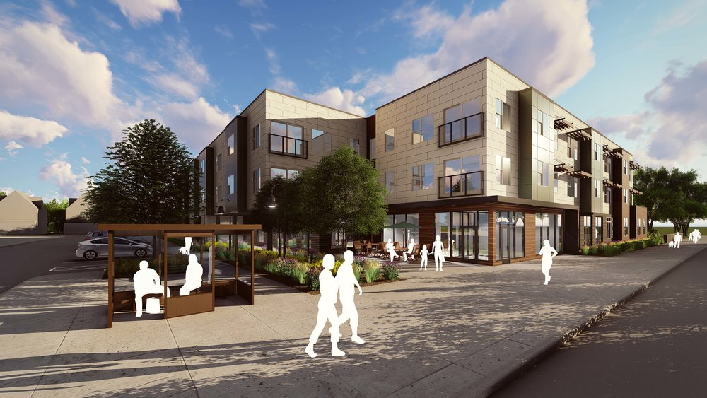 Rendering of Aspen Place, a multi-family affordable housing development in Detroit Shoreway