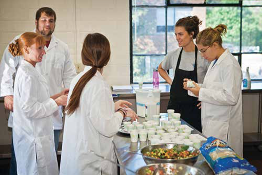 After revamping old recipes to make them more nutritious, Dietetics and Human Nutrition students hold taste testings in the cooking lab in Erickson Hall. photo by Matt Barton