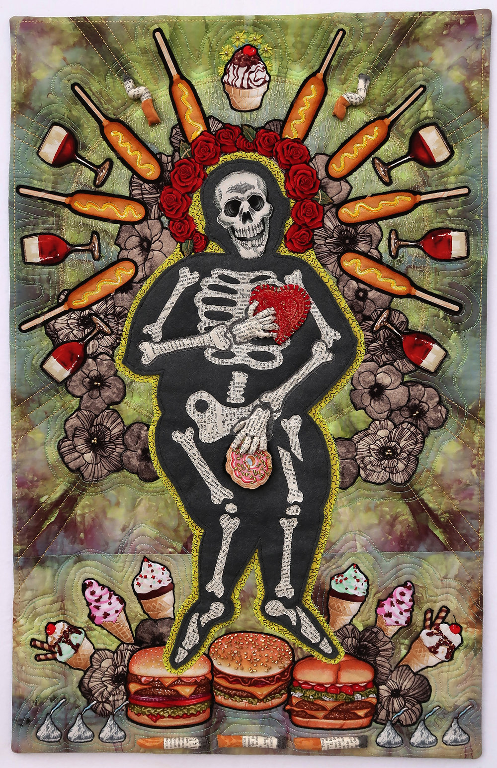 """Dying to Eat - 16"""" x 26""""I explored the goddess of overindulgence and poor lifestyle. This goddess emerged mythically, like Botticelli's Venus. She is born into a divine love of junk food, booze and smokes that are her driving life force. While there are subtleties (can you spot them?) the main message of my piece is a straightforward cautionary tale of how poor consumption choices can send us to an early grave. Are you eating to live...or dying to eat?"""