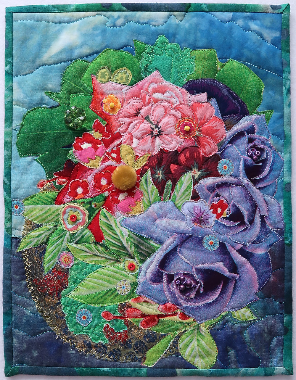 """Underwater Bouquet - 8.5"""" x 11""""I am continuously inspired by my experience scuba diving and the diversity of life in the ocean. Like a garden scape of life so rich and colourful, this work started from a seed, ideas and decisions nurtured one after another. I am a true explorer on every dive, and artistic challenge."""