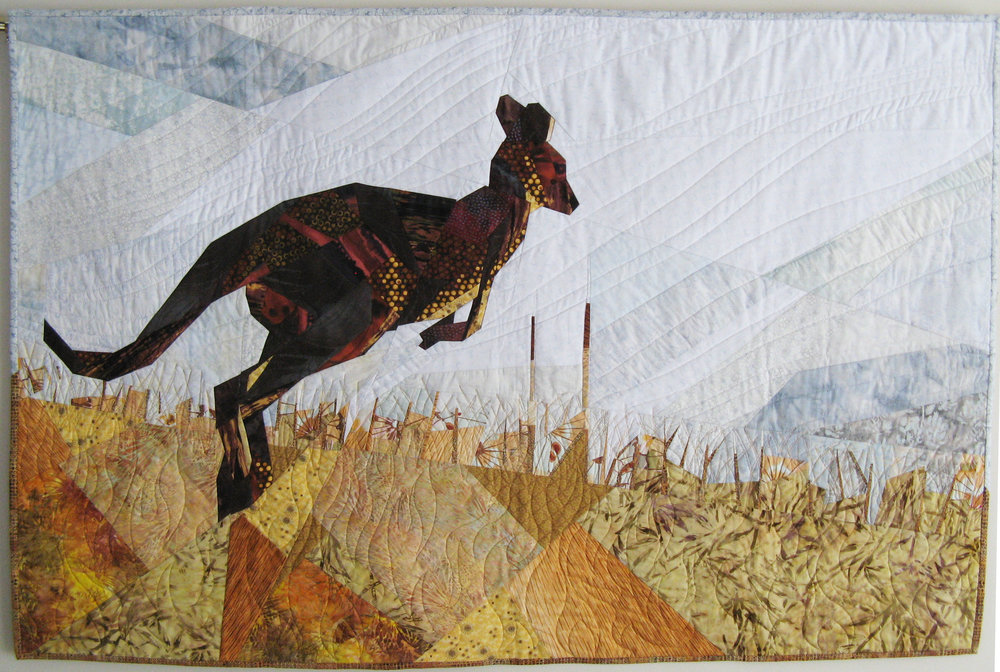 Kangaroo - I feel connected to this animal from the time I spent in Australia. Kangaroo was started in the first workshop I took with Ruth MacDowell. A prolific artist and generous teacher, Ruth's style and techniques continue to influence my artistic work.