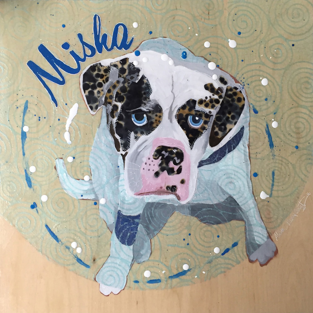 "Misha - 18"" x 18""My inspiration is a friend's Alapaha Blue Blood Bulldog. She has such an interesting face and colour markings that I wanted to interpret in acrylic paint, fabric and paper.Technique: Acrylic paint and fabric collage."