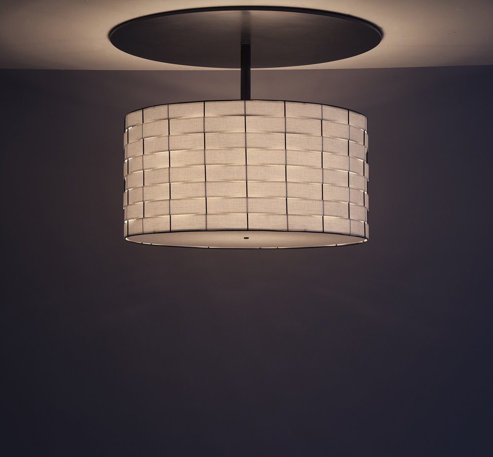 Basket Weave_C-129_Drum Pendant with Large Canopy_black_white_on.jpg