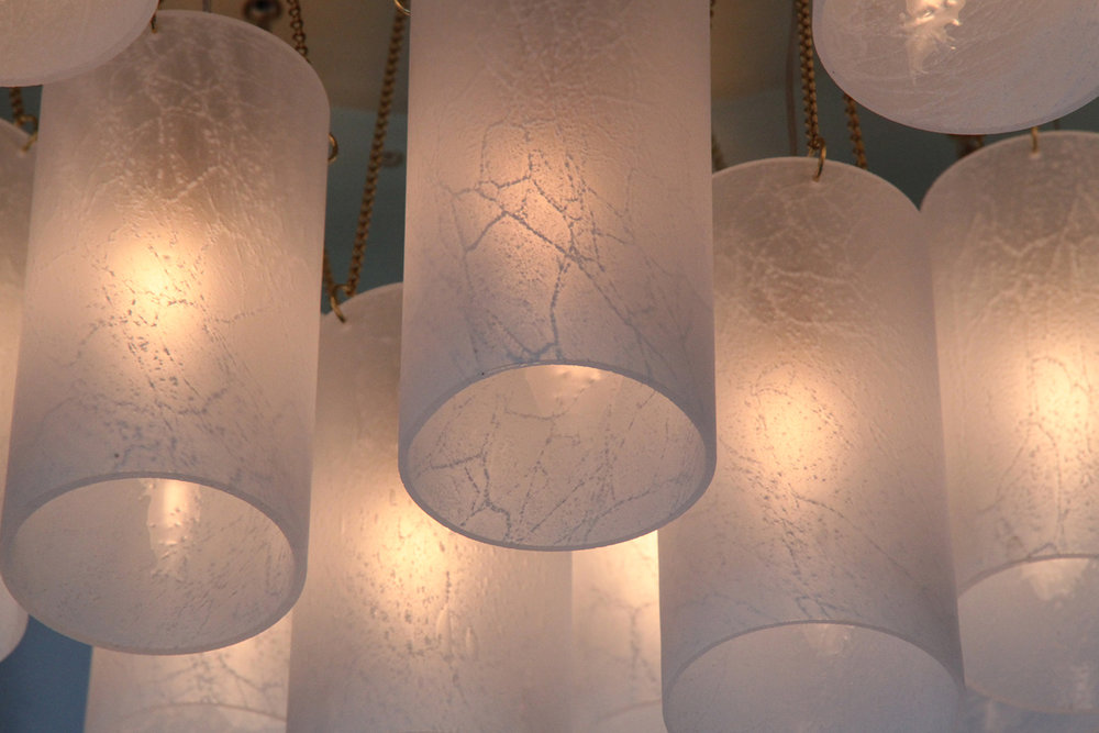 Glass + Crystal_C-171_Multi_Tiered Glass Shade Chandelier_Satin Brass_Glass_up close_on.JPG