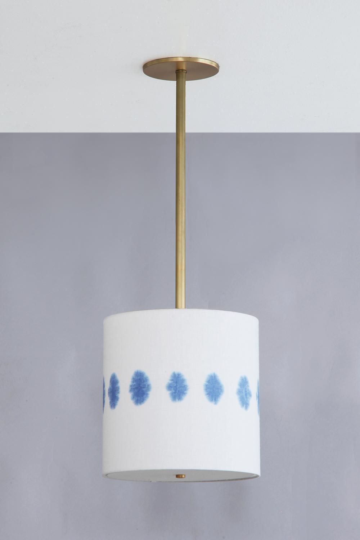 Shibori_C-220_Florette Drum Pendant_Satin Brass_Blue.jpg