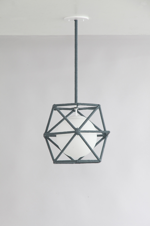 Rope_C-214_Hexagonal Cage Rope Pendant_White_Dark Grey.jpg