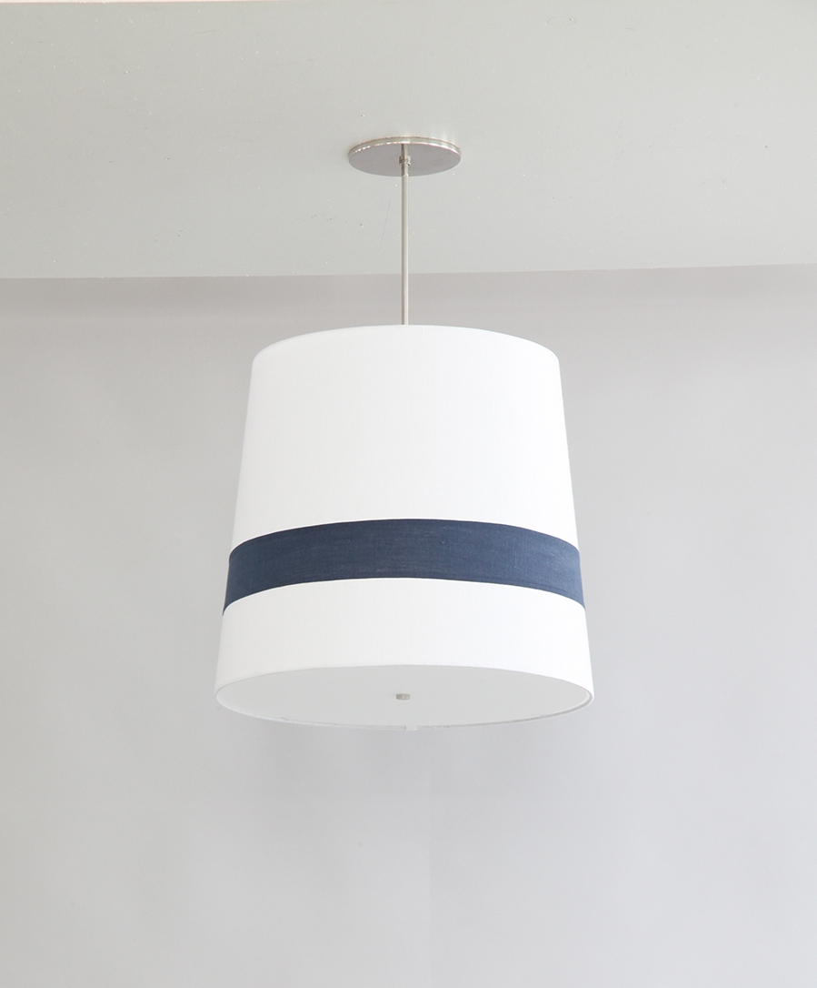 Striped_C-163_Single Striped Tapered Pendant_Satin Nickel_Blue and White.JPG