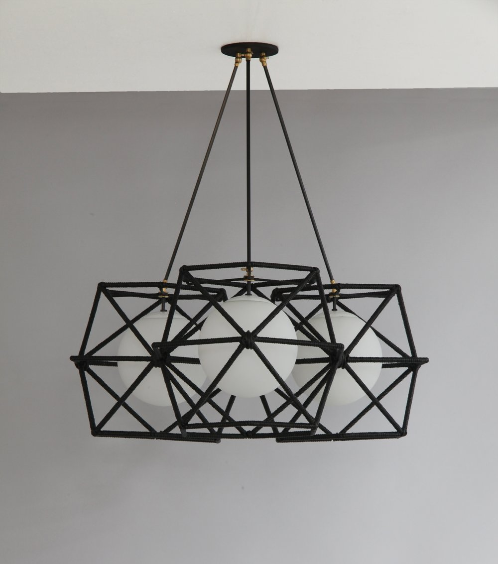 C-214  Hexagonal Cage Rope Ceiling Fixture BLACK TRIO.jpg