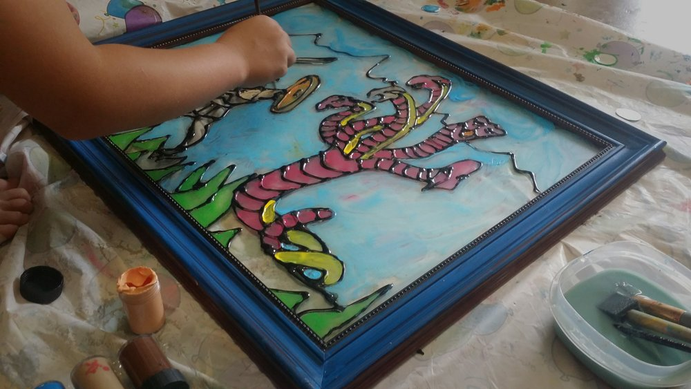 Mommy Art Camp-Stained glass day with my kids