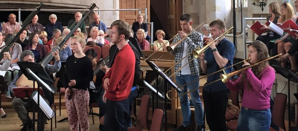 Students rehearse with members of The City Musick at Dartington Summer Festival and School