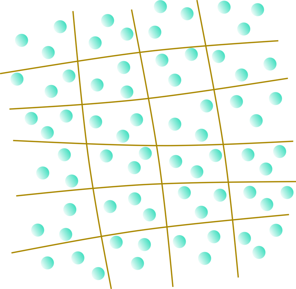 Graphical representation of the gel net. The blue balls are water molecules trapped into the net.