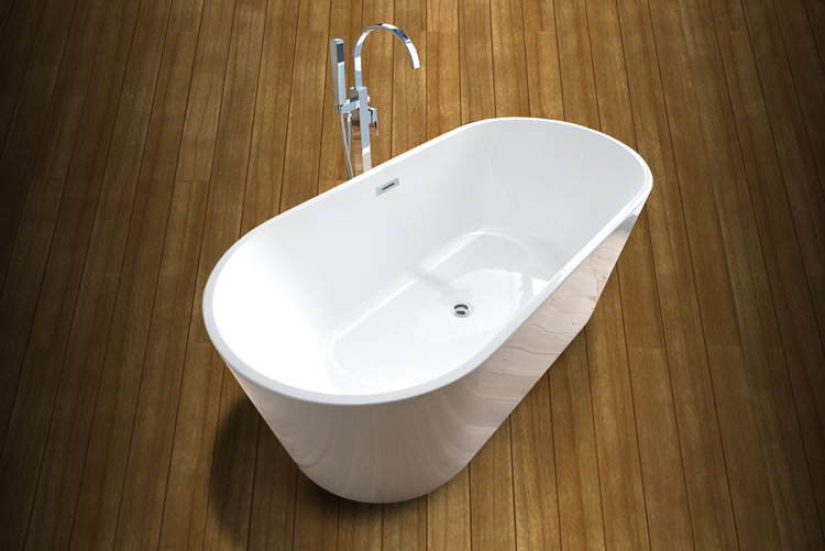 AARHUS - Mäch Bath Modern Oval Shaped Acrylic Freestanding Bathtub