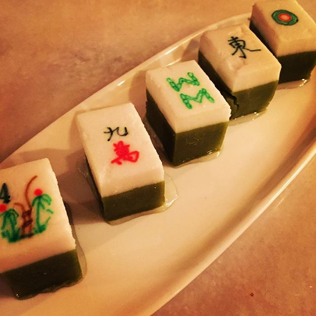 """Kyiv Muih from @satekamparphilly with Chef Ange Branca's special """"Crazy Rich Asians"""" meal for @lesdamesphl @lesdamesintl  Our table had the winning mahjong tile! @eastpassyunk"""