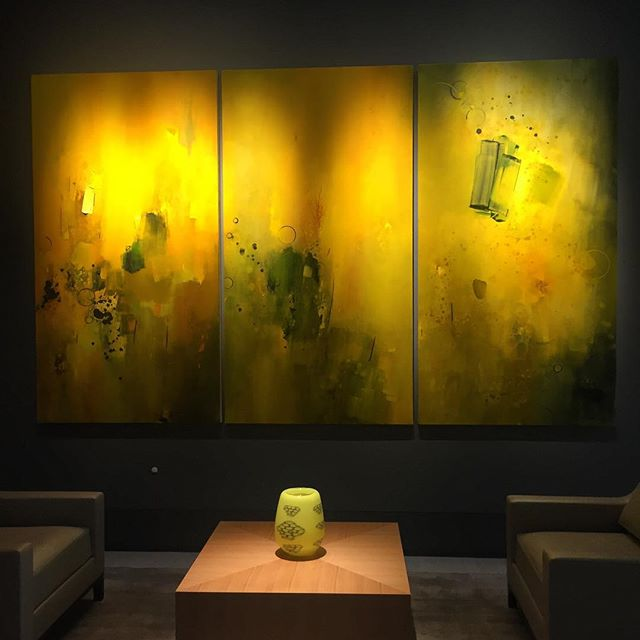 Imagine my joy when I go to visit a client and there is a @keithragone triptych in the lobby! I know right then that this is going to be a cool party. #triptych