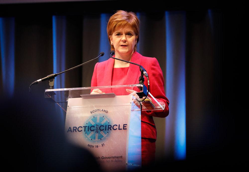 The First Minister, Nicola Sturgeon speaking in Edinburgh.©Arctic Circle