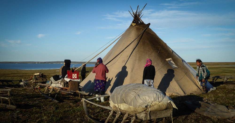"""The Nenets' traditional dwelling tent is called """"chum"""" in Russian, a word derived from the Udmurt language. The Nenets word for the structure is """"mya"""". JONAA©Zoia Vylka Ravna"""