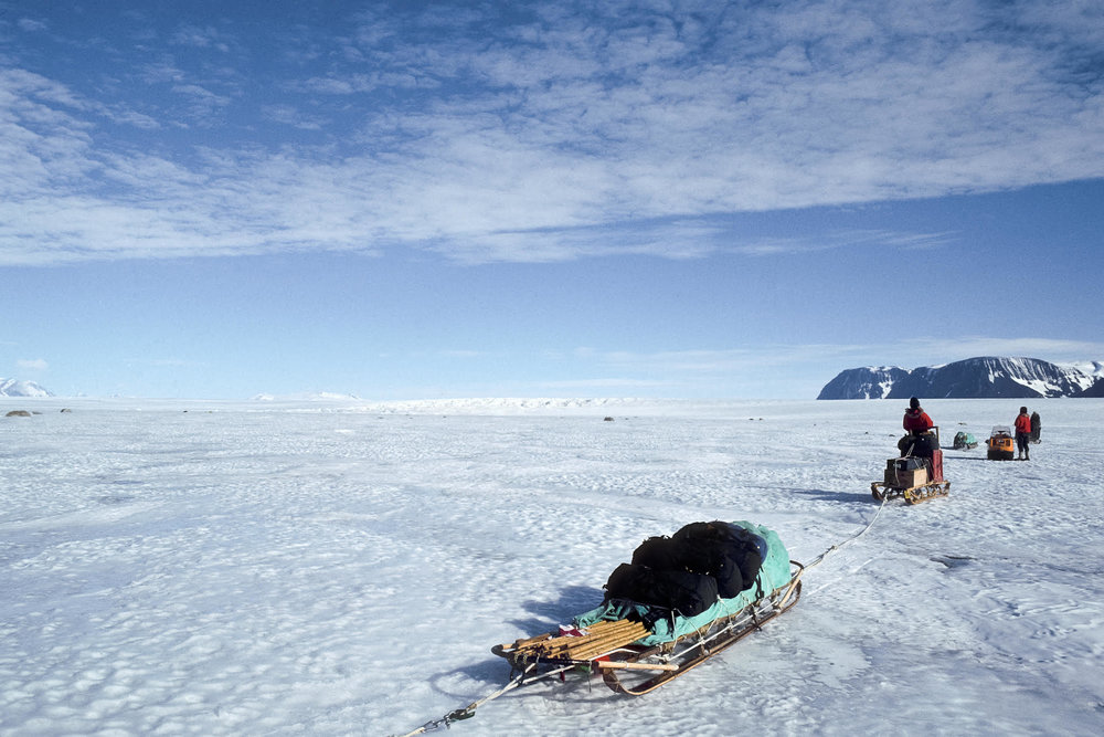 "Into unexplored territory in Northern Victoria Land, Antarctic. Photograph from ""Journey Into Climate"" by ©Paul A. Mayewski and Michael C. Morrison, 2011."