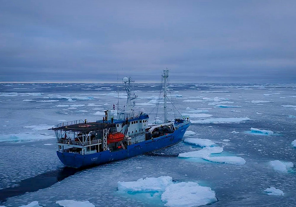 """Norwegian Polar Institute's former research vessel """"Lance"""" on a scientific expedition north of Svalbard where influx of warm Atlantic water contributes to the thinning and fragmenting of sea ice. JONAA©Elvar H. Hallfredsson, Marine Research Institute"""