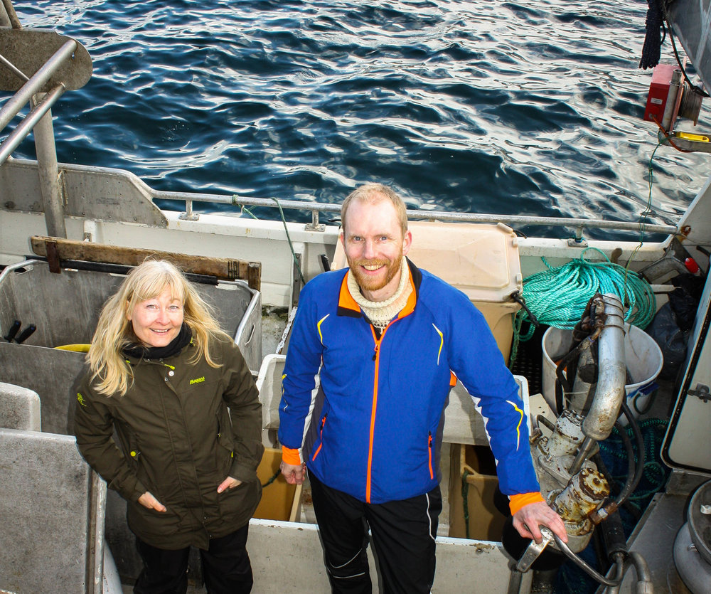 Looking for bacteria. Scientists and researchers, Hilde Hansen and Bjørn Altermark are searching the coast of northern Norway for bacteria that can feed on marine sources such as fish scraps from fish farming or the fishing industry. JONAA©UiT, The Arctic University of Norway