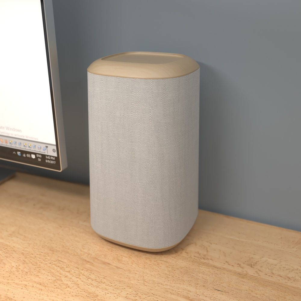 Speaker lined with wood and fabric.