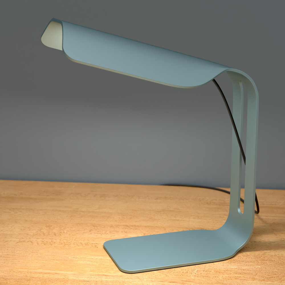 Desk lamp made with bent anodized aluminium.