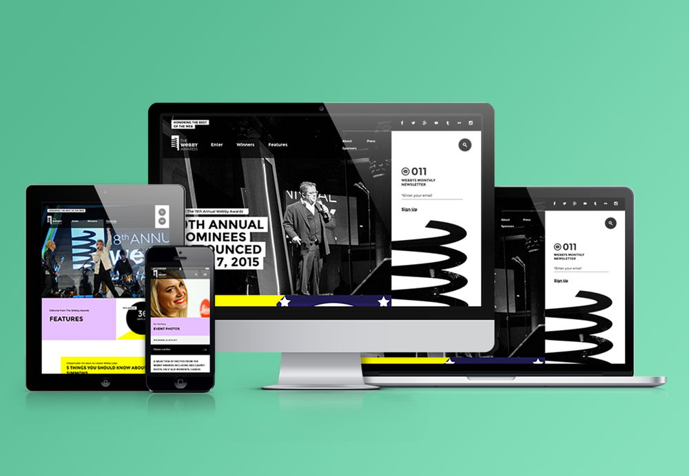 The  website  was in need of an update to modernize the platform and match the quality of work being entered. We worked with  Code & Theory  to bring the Webby Awards site into the next generation with an intuitive backend, responsive design, and bold colors.