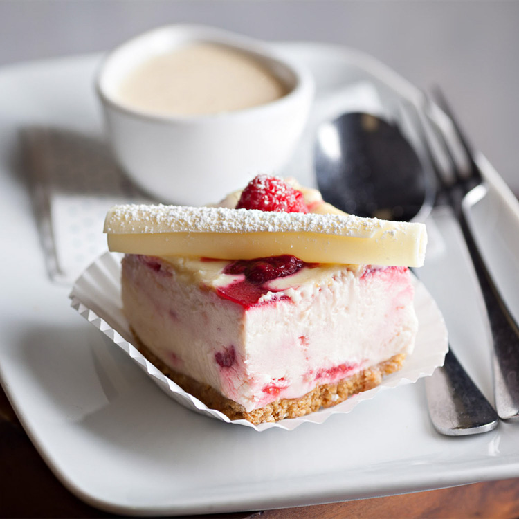 White Chocolate Raspberry Cheesecake   €3.90 (Eat in)—€3.50 (Takeaway)