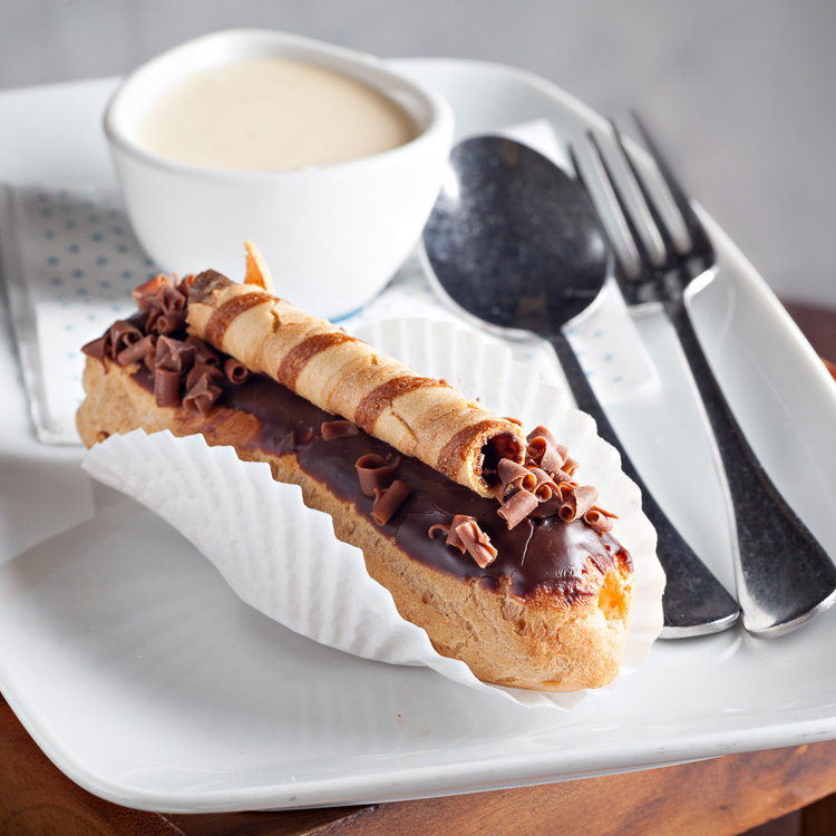 Eclair Filled with Creme Patissiere   €3.00 (Eat in)—€2.45 (Takeaway)