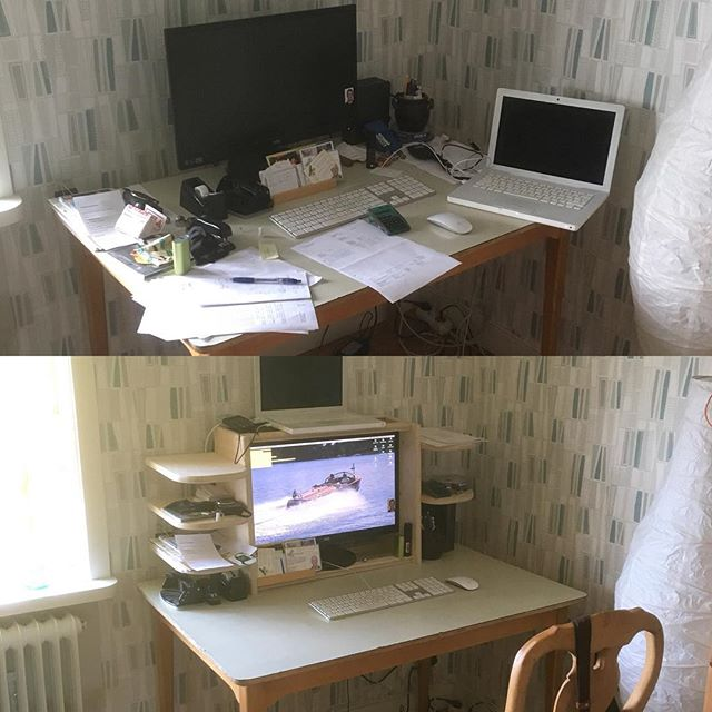 Före och efter. Byggt en skrivbords hylla för att få ordning på alla papper som ligger.  #jkfinsnickeri
