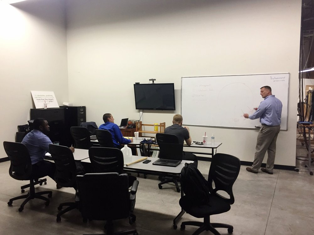 Jerry Savage trains new Proautomated engineers on jobsite Time management, part of the professional training that supplements Technical information.